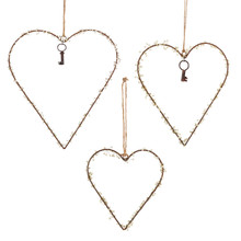 3 Sets of 3 Metal Hearts With Beads - 9 Pieces