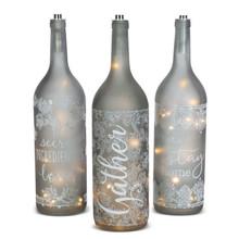 Oversized Inspirational Gray Bottle with Warm White LED Lights