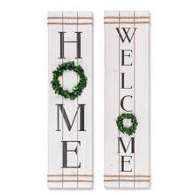 """Set of 2 Wood """"Home"""" and """"Welcome"""" Wall Decor"""