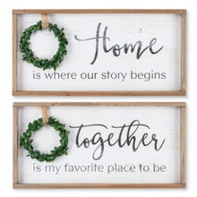 Set of 2 Wood Wreath Wall Decor