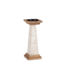 """White Wood Pillar Candle Holder 12""""H - 2 Pieces"""