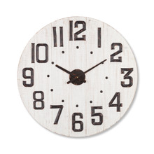 White Wash Wood Clock with Metal Numbers