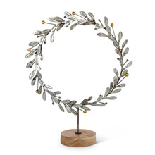 "Metal Star Wreath with Wood Stand 14.50""H"