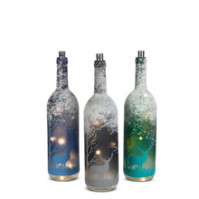 "2 Sets of 3 Winter Scene Glass Bottle with Warm White LED Lights 14""H - 6 Pieces"