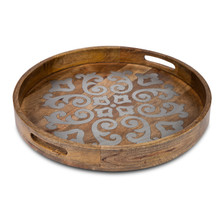 "Mango Wood 24"" Round Heritage Tray with Metal Inlay"