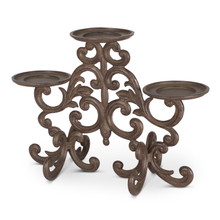 "12""H Scrolled Acanthus 3-Light Candleholder, Metal"