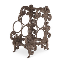 Acanthus Leaf Three Wine Bottle Holder, Metal