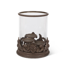 "Acanthus Leaf Triple 3"" Candle Holder, Metal"