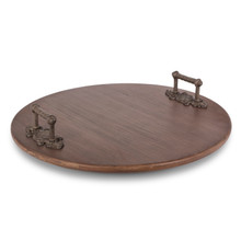 Wood Lazy Susan with Metal Acanthus Leaf Handles
