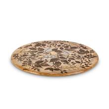 Mango Wood with Inlay/Laser Leaf Design Lazy Susan