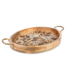 Mango Wood Tray with Gold-Tone Handles and Inlay/Laser Leaf Design