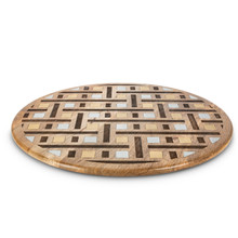 Mango Wood Lazy Susan with Inlay/Laser Weave  Design