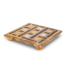 Square Trivet, Mango Wood with Inlay/Laser Weave Design