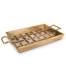 "27"" Rectangle Tray with Gold-Tone Handles, Mango Wood with Inlay/Laser Weave Design"