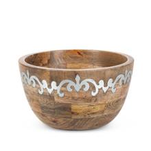 Deep Serving Bowl, Mango Wood with Metal Inlay