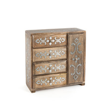 4-Drawer Jewelry Box, Mango Wood with Aluminum Inlay