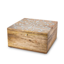 Hinged Lidded Box, Mango Wood with Aluminum Inlay