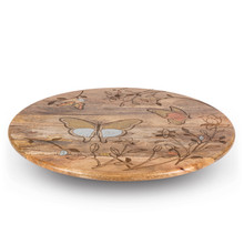 Butterfly Lazy Susan, Mango Wood with Metal Inlay