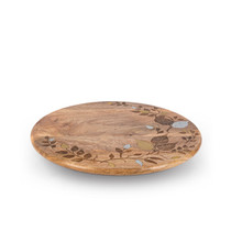 "Lazy Susan 16"", Mango Wood with Inlay/Laser Leaf Design"