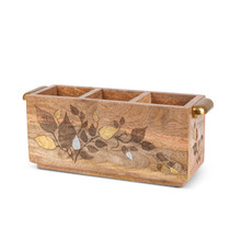 Flatware Caddy, Mango Wood with Inlay/Laser Leaf Design