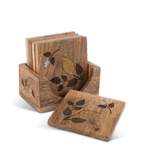6-Piece Coaster Set, Mango Wood with Inlay/Laser Leaf