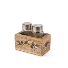 Salt & Pepper Shakers, Mango Wood with Inlay/Laser Leaf