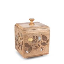 Small Canister, Mango Wood with Inlay/Laser Leaf Design
