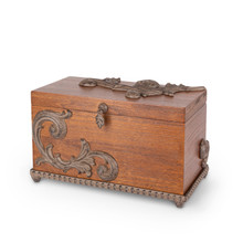 Birch Wood Box with Hinged Lid and Metal Accent and Base