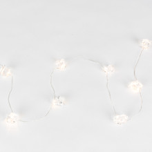 10ft Indoor/Outdoor Warm White Clear Acrylic Gems Micro LED Battery Light String with Timer, Silver Wire - 6 Sets