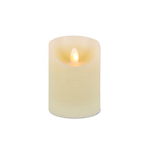 "4""H Wax LED Pillar Candle with Aurora Flame and Timer - 6 Pieces"