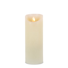 "8""H Wax LED Pillar Candle with Aurora Flame and Timer - 6 Pieces"