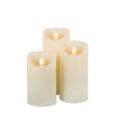 6 Sets of 3 Wax LED Pillar Candles with Aurora Flame with Remote - 18 Pieces
