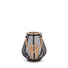 """9""""H Black Metal LED Lantern with Wood Trim and Timer - 2 Lanterns"""