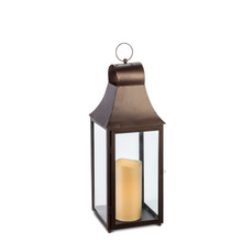 "22""H Antique Bronze Metal Indoor/Outdoor Lantern with Glass Panes and Timer"