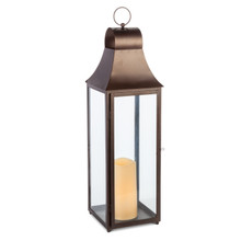 "28""H Antique Bronze Metal Indoor/Outdoor Lantern with Glass Panes and Timer"