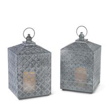 """14""""H Gray Brushed White Metal Lantern with Timer - 4 Lanterns"""