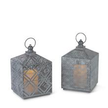 """11""""H Gray Brushed White Metal Lantern with Timer - 4 Lanterns"""