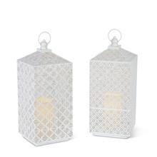 """16""""H White Metal Lantern with Timer - 4 Lanterns"""
