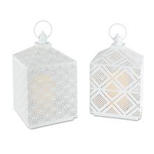 """11""""H White Metal Lantern with Timer - 4 Lanterns"""