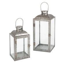 Set of 2 Galvanized Metal Lanterns