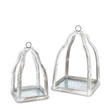 Set of 2 Wood Platforms with Galvanized Bottom Candle Holder