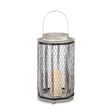 "16""H Wood and Metal Honeycomb Lantern with Timer"