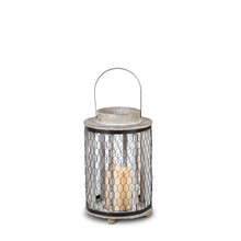 "12""H Wood and Metal Honeycomb Lantern with Timer - 2 Lanterns"