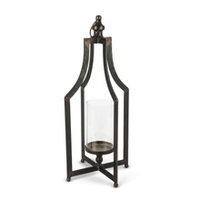 "22""H Black Metal Lantern with Glass Cylinder - 2 Lanterns"