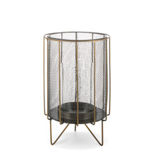 "12""H Black Metal Mesh Candle Holder with Antique Gold Legs and Accents"