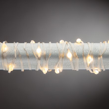10ft Super Bright Micro Warm White LED Battery String Lights with Timer, Silver Wire - 6 Sets
