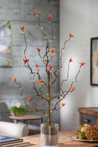 30 Inch Orange Leaf LED Branch with Timer - 12 Pieces
