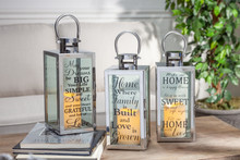 "Set of 3 Galvanized Metal Indoor/Outdoor Lantern with Printed Design and Timer 12""H"