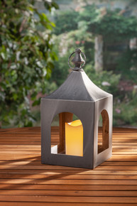 "Small Gray Metal Indoor/Outdoor Lantern with Timer 14""H - 2 Lanterns"