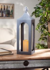 """Large Gray Metal Indoor/Outdoor Lantern with Timer 20""""H - 2 Lanterns"""